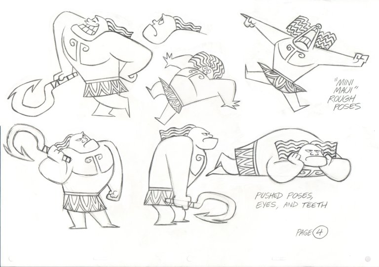 """MINI MAUI"" expression sheet. Artist: Eric Goldberg, Animation Supervisor."